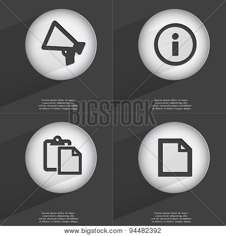 Megaphone, Information, Tasklist, File Icon Sign. Set Of Buttons With A Flat Design. Vector