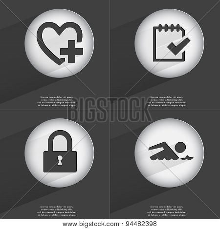 Heart With Plus, Task Completed, Lock, Swimmer Icon Sign. Set Of Buttons With A Flat Design. Vector