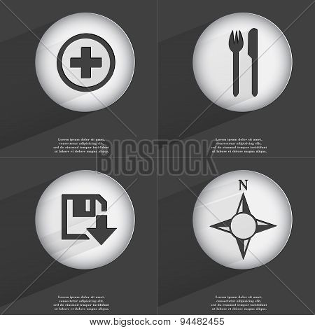 Plus, Fork And Knife, Floppy Disk Download, Compass Icon Sign. Set Of Buttons With A Flat Design. Ve