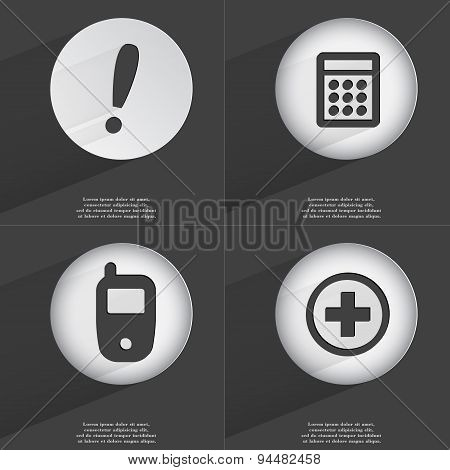 Exclamation Mark, Calculator, Mobile Phone, Plus Icon Sign. Set Of Buttons With A Flat Design. Vecto
