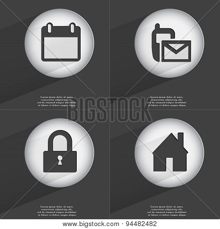 Calendar, Sms, Lock, House Icon Sign. Set Of Buttons With A Flat Design. Vector