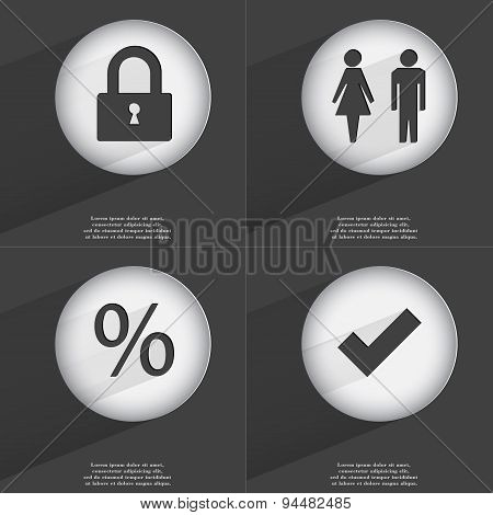 Lock, Silhouette Of Man And Woman, Percent, Tick Icon Sign. Set Of Buttons With A Flat Design. Vecto