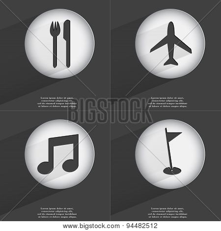 Fork And Knife, Airplane, Note, Golf Hole Icon Sign. Set Of Buttons With A Flat Design. Vector