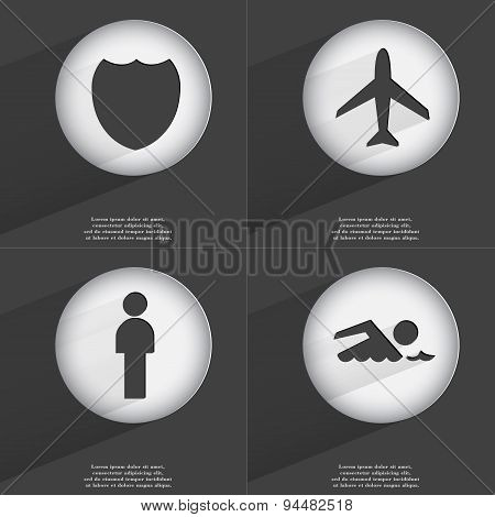 Badge, Airplane, Silhouette, Swimmer Icon Sign. Set Of Buttons With A Flat Design. Vector