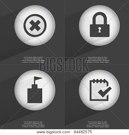 Stop, Lock, Flag Tower, Task Completed Icon Sign. Set Of Buttons With A Flat Design. Vector