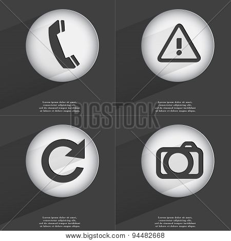 Receiver, Warning, Reload, Camera Icon Sign. Set Of Buttons With A Flat Design. Vector