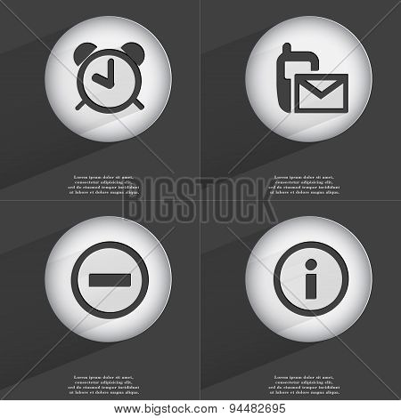 Alarm Clock, Sms, Minus, Information Icon Sign. Set Of Buttons With A Flat Design. Vector