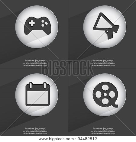 Gamepad, Megaphone, Calendar, Videotape Icon Sign. Set Of Buttons With A Flat Design. Vector