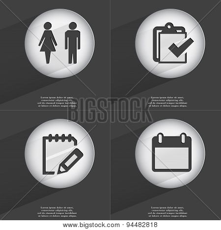 Silhouette Of Man And Woman, Task Completed, Notebook, Calendar Icon Sign. Set Of Buttons With A Fla