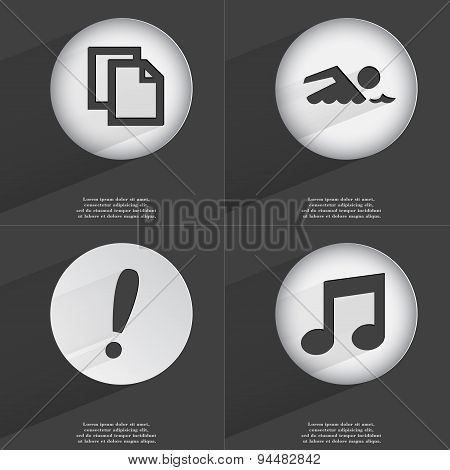 Copy, Swimmer, Exclamation Mark, Note Icon Sign. Set Of Buttons With A Flat Design. Vector