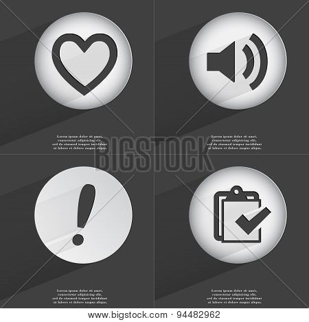 Heart, Sound, Exclamation Mark, Task Completed Icon Sign. Set Of Buttons With A Flat Design. Vector
