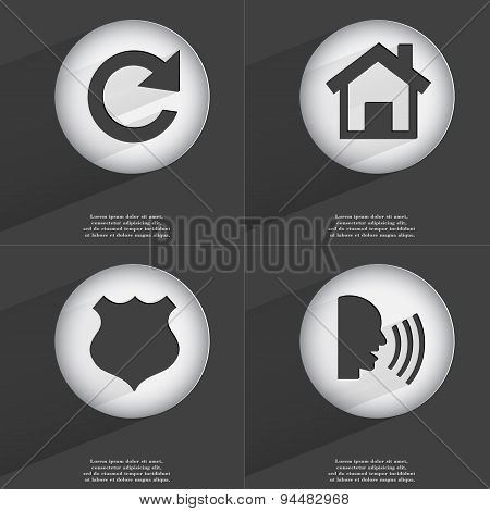 Reload, House, Police Badge, Talk Icon Sign. Set Of Buttons With A Flat Design. Vector
