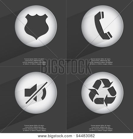 Police Badge, Receiver, Mute, Recycling Icon Sign. Set Of Buttons With A Flat Design. Vector