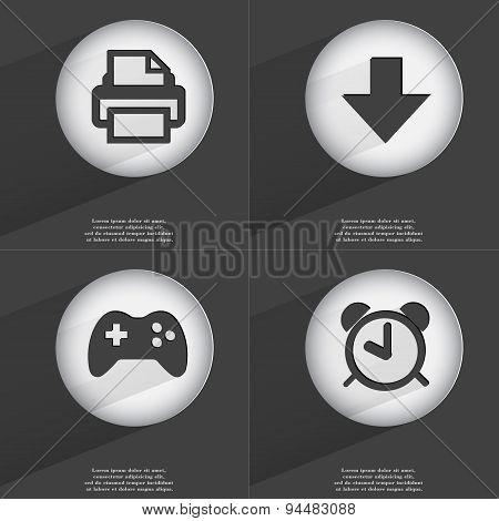Printer, Arrow Directed Down, Gamepad, Alarm Clock Icon Sign. Set Of Buttons With A Flat Design. Vec