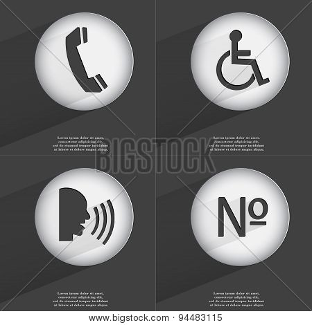 Receiver, Disabled Person, Talk, Number Icon Sign. Set Of Buttons With A Flat Design. Vector