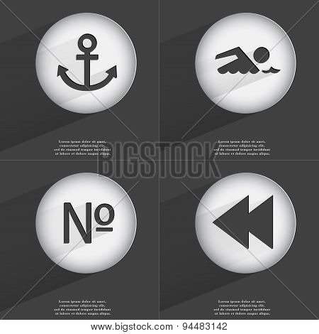 Anchor, Swimmer, Number, Rewind Icon Sign. Set Of Buttons With A Flat Design. Vector