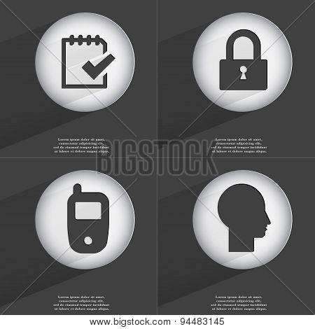 Task Completed, Lock, Mobile Phone, Silhouette Icon Sign. Set Of Buttons With A Flat Design. Vector