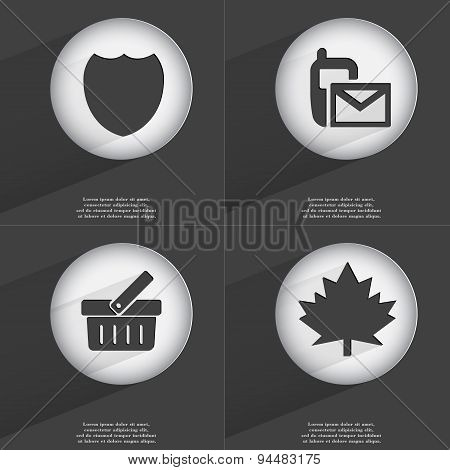 Badge, Sms, Basket, Maple Leaf Icon Sign. Set Of Buttons With A Flat Design. Vector