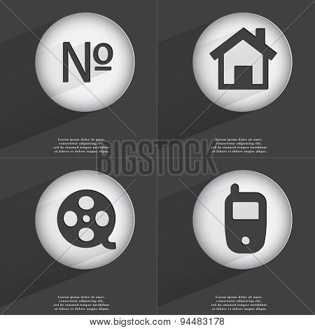 Number, House, Videotape, Mobile Phone Icon Sign. Set Of Buttons With A Flat Design. Vector