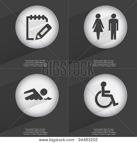 Notebook, Silhouette Of Man And Woman, Swimmer, Disabled Person Icon Sign. Set Of Buttons With A Fla