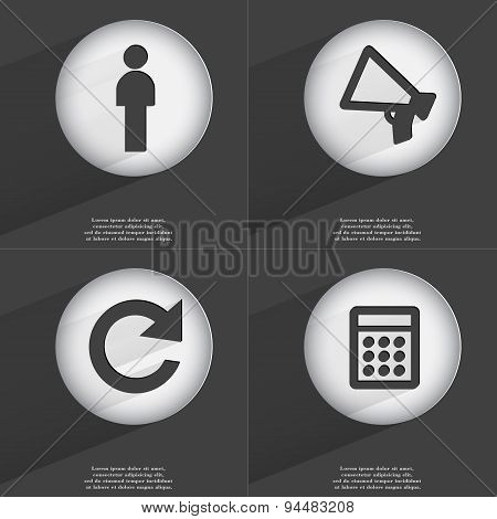 Silhouette, Megaphone, Reload, Calculator Icon Sign. Set Of Buttons With A Flat Design. Vector