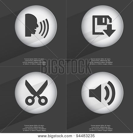 Talk, Floppy Disk Download, Scissors, Sound Icon Sign. Set Of Buttons With A Flat Design. Vector