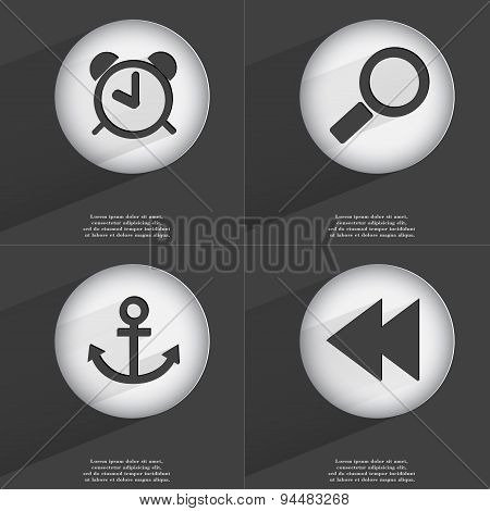 Anchor, Magnifying Glass, Anchor, Rewind Icon Sign. Set Of Buttons With A Flat Design. Vector