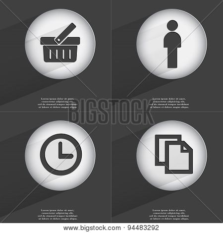 Basket, Silhouette, Clock, Copy Icon Sign. Set Of Buttons With A Flat Design. Vector