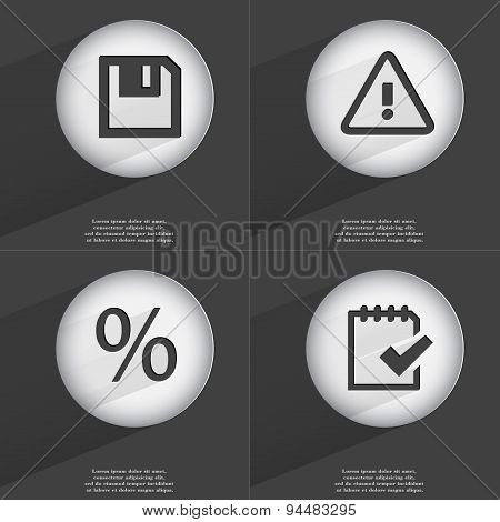 Floppy Disk, Warning, Percent, Task Completed Icon Sign. Set Of Buttons With A Flat Design. Vector