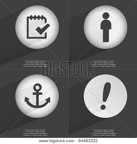 Task Completed, Silhouette, Anchor, Exclamation Mark Icon Sign. Set Of Buttons With A Flat Design. V