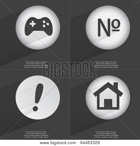 Gamepad, Number, Exclamation Mark, House Icon Sign. Set Of Buttons With A Flat Design. Vector