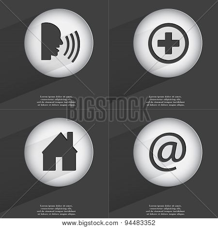 Talk, Plus, House, Mail Icon Sign. Set Of Buttons With A Flat Design. Vector