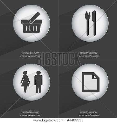 Baket, Fork And Knife, Silhouette Of Man And Woman, File Icon Sign. Set Of Buttons With A Flat Desig