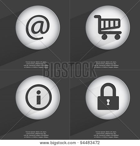 Mail, Shopping Cart, Information, Lock Icon Sign. Set Of Buttons With A Flat Design. Vector