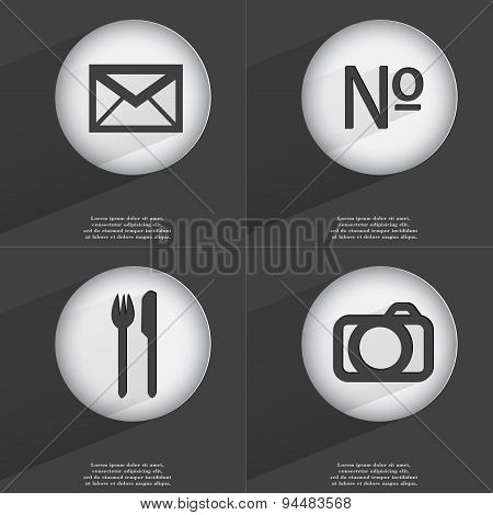 Message, Number, Fork And Knife, Camera Icon Sign. Set Of Buttons With A Flat Design. Vector