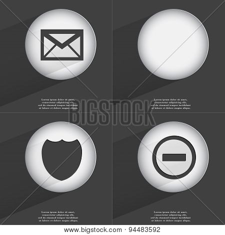 Message, Badge, Minus Icon Sign. Set Of Buttons With A Flat Design. Vector