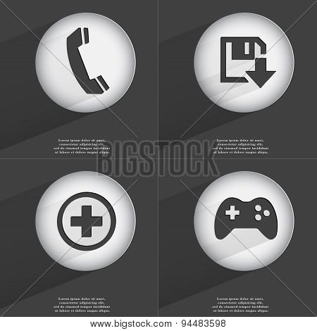 Receiver, Floppy Disk Download, Plus, Gamepad Icon Sign. Set Of Buttons With A Flat Design. Vector
