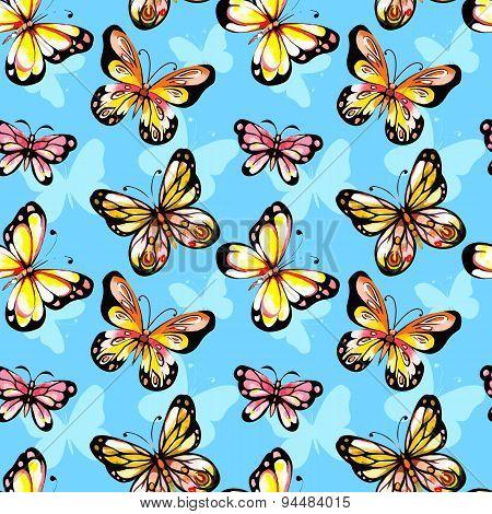 Watercolor butterfly seamless pattern.