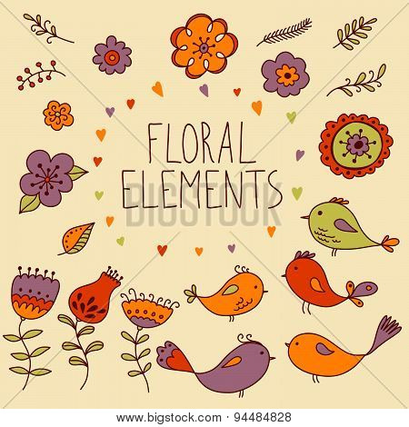 Floral elements stickers set