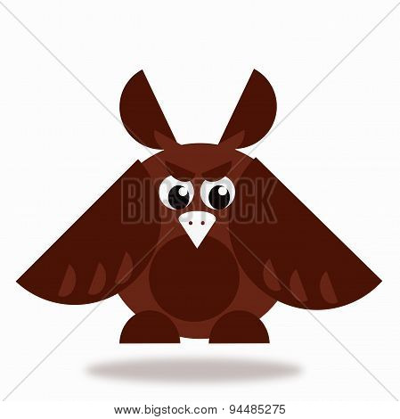 Owl Icon In Brown Color On White Background