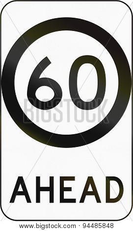 Speed Limit Zone Ahead In Australia