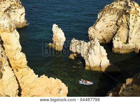 Ponta de Piedade in Lagos, Algarve coast in Portugal