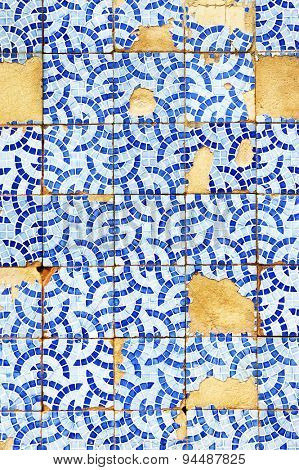 Detail of typical old Lisbon tiles, traditional decoration of Portugal (azulejos)