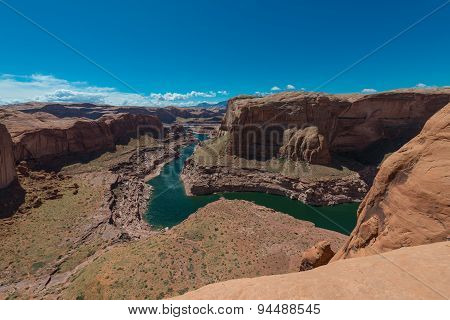 Looking Down Towards The Lake Powell Near Hole In The Rock