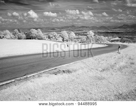 A typical black and white infrared photography landscape with trees and a road