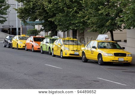 SEATTLE, WA - JUNE 24, 2015: Line of Taxi Cabs in Seattle WA