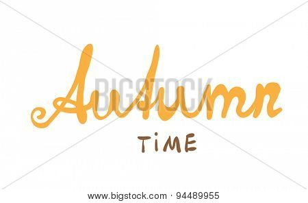 Hand-written word AUTUMN, lettering. Vector illustration