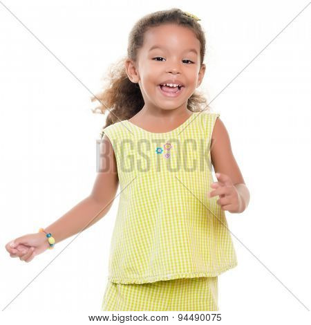 Cute small african-american or hispanic girl laughing and having fun isolated on white