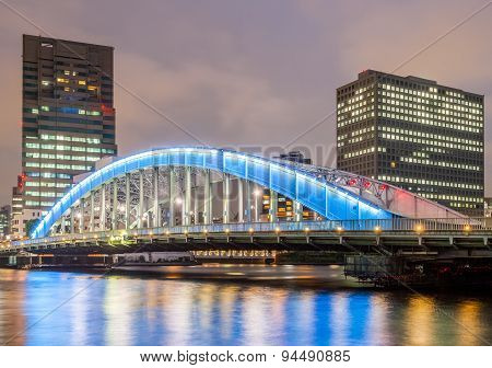 Etai bridge and Sumida river at Tokyo City