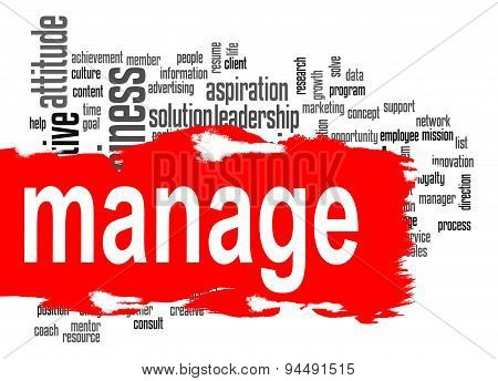 Manage Word Cloud With Red Banner